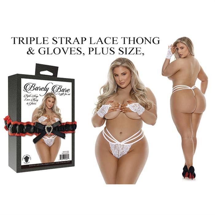 TRIPLE STRAP LACE THONG & GLOVES, PLUS SIZE, WHITE